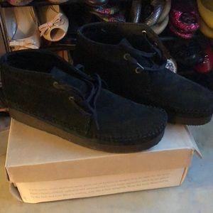 Clarks Black Suede Weaver Boot